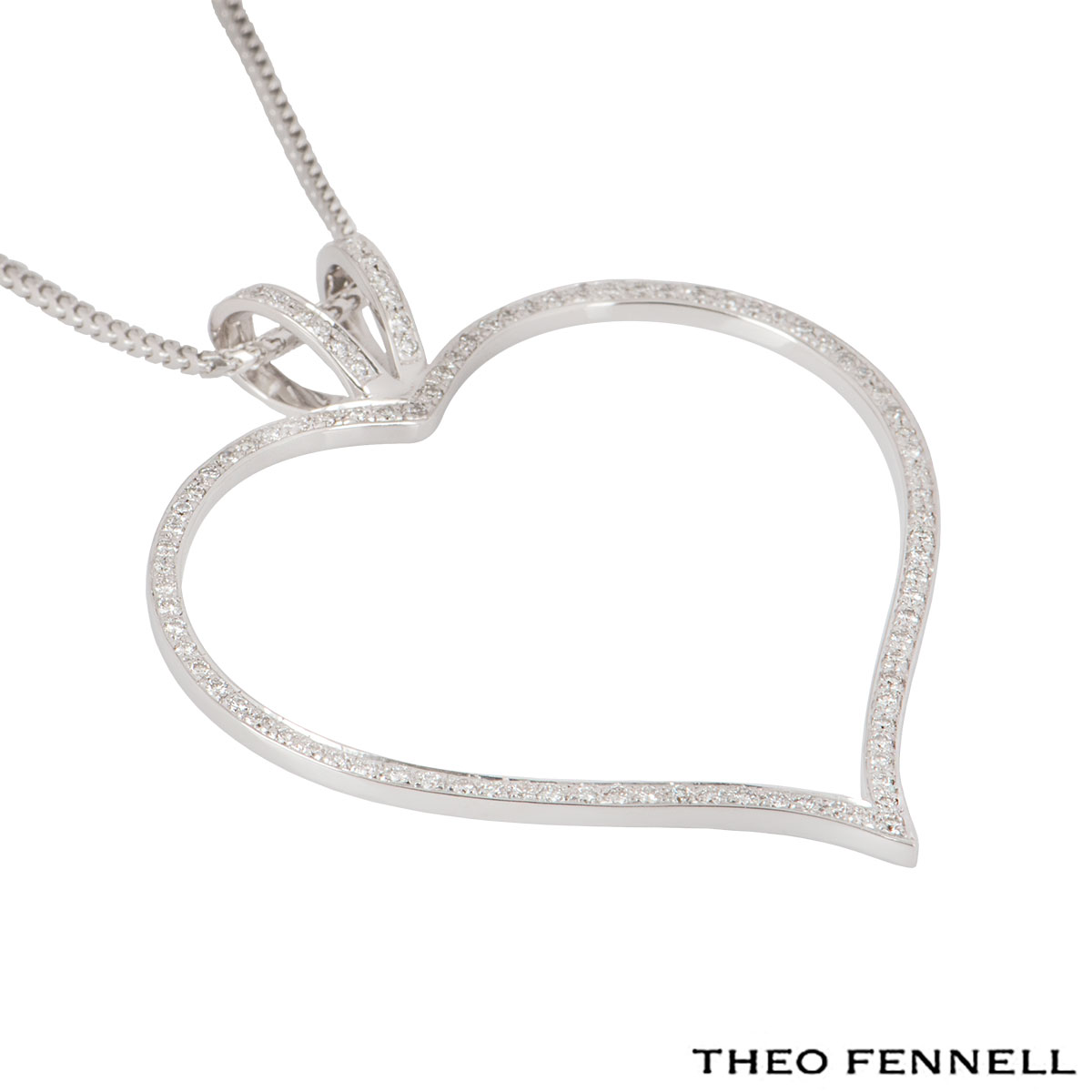 Theo Fennell White Gold Diamond Heart Necklace